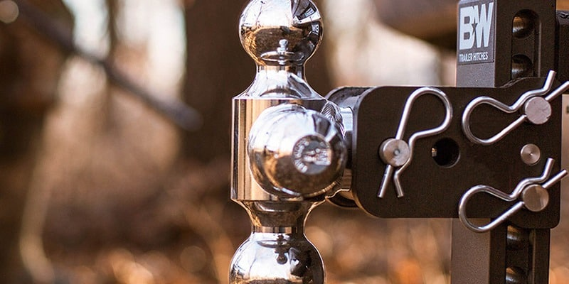 Zoomed image of a three-way BW Trailer Hitch