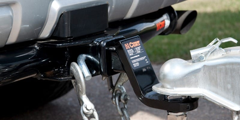 Curt trailer hitch connecting SUV to trailer